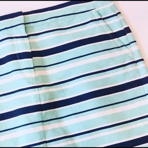 Tommy Hilfiger Navy Green Stripe Pencil Mini Skirt